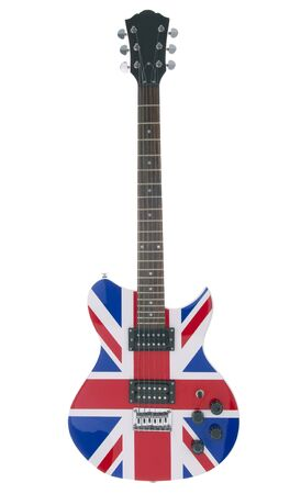 Full shot of an electric guitar with the British flag on it.