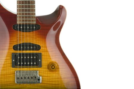 tremolo: Close-up of an electric guitar body with copy space