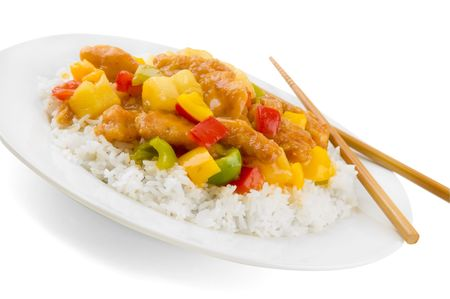 Sweet and sour chicken on a white plate with chopsticks.