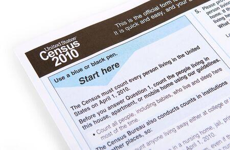 censo: la forma de censo de Estados Unidos de 2010 sobre un fondo blanco Foto de archivo