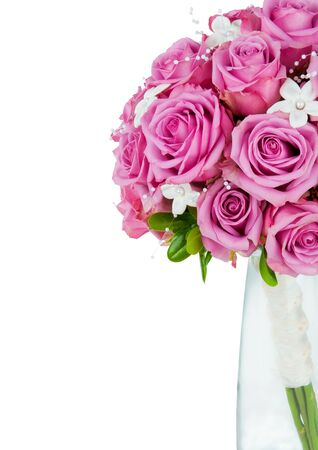 A wedding flower bouquet isolated on a white background with copyspace on the side Archivio Fotografico