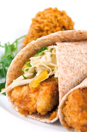 taco tortilla: Breaded fish tacos served with spanish rice on a white background Stock Photo