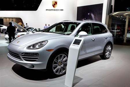 DETROIT - JANUARY 11: The new Porsche Cayanne at the 2012 North American International Auto Show Industry Preview on January 11, 2012 in Detroit, Michigan. Stock Photo - 11970751