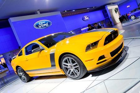 DETROIT - JANUARY 11: The 2013 Ford Boss 302 Mustang at the 2012 North American International Auto Show Industry Preview on January 11, 2012 in Detroit, Michigan.