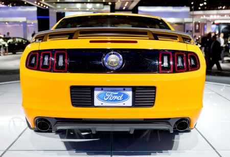 DETROIT - JANUARY 11: Rear view of the 2013 Boss 302 Mustang at the 2012 North American International Auto Show Industry Preview on January 11, 2012 in Detroit, Michigan.