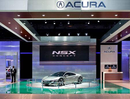acura: DETROIT - JANUARY 11: The Acura NSX concept display at the 2012 North American International Auto Show Industry Preview on January 11, 2012 in Detroit, Michigan.