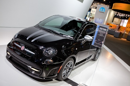 titanium: DETROIT - JANUARY 11: A Mopar customized Fiat 500 Titanium at the 2012 North American International Auto Show Industry Preview on January 11, 2012 in Detroit, Michigan.