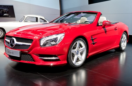 DETROIT - JANUARY 11: The new Mercedes Benz SL at the 2012 North American International Auto Show Industry Preview on January 11, 2012 in Detroit, Michigan.
