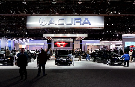 acura: DETROIT - JANUARY 11: The Acura display at the 2012 North American International Auto Show Industry Preview on January 11, 2012 in Detroit, Michigan.