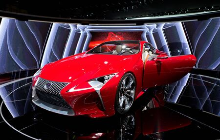 lexus: DETROIT - JANUARY 11: The Lexus LF-LC hybrid concept on display at the 2012 North American International Auto Show Industry Preview on January 11, 2012 in Detroit, Michigan. Editorial
