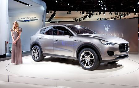 DETROIT - JANUARY 11: The new Maserati Kubang SUV at the 2012 North American International Auto Show Industry Preview on January 11, 2012 in Detroit, Michigan.  Stock Photo - 11987486