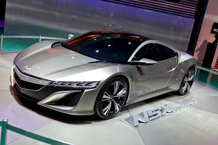 acura: DETROIT - JANUARY 11: The Acura NSX concept on display at the 2012 North American International Auto Show Industry Preview on January 11, 2012 in Detroit, Michigan.  Editorial