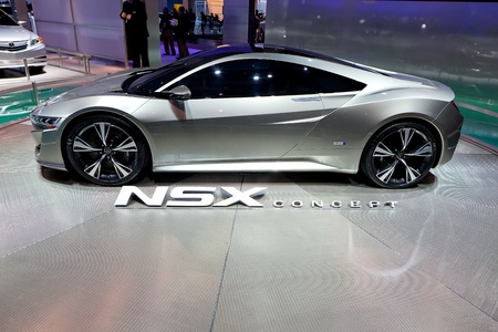 acura: DETROIT - JANUARY 11: Acura NSX hybrid concept car at the 2012 North American International Auto Show Industry Preview on January 11, 2012 in Detroit, Michigan.