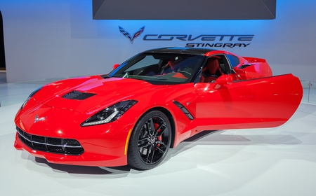 american media: CHICAGO - FEBRUARY 7 : The new 2014 Corvette Stingray on display at the Chicago Auto Show media preview February 7, 2013 in Chicago, Illinois.
