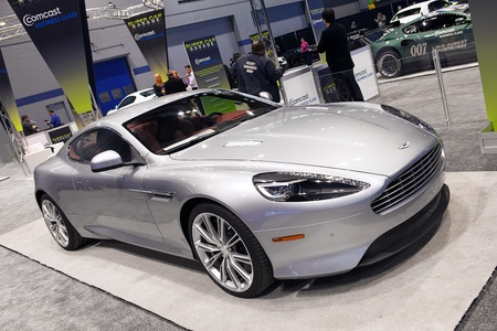 CHICAGO - FEBRUARY 7 : An Aston Martin DB9 on display at the Chicago Auto Show media preview February 7, 2013 in Chicago, Illinois.