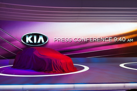 unveil: CHICAGO - FEBRUARY 7 : The Kia Superman Concept car ready to be unveiled at the Chicago Auto Show media preview February 7, 2013 in Chicago, Illinois. Editorial