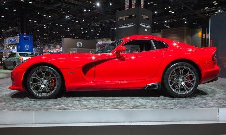 CHICAGO - FEBRUARY 7 : The 2013 Dodge SRT Viper on display at the Chicago Auto Show media preview February 7, 2013 in Chicago, Illinois.