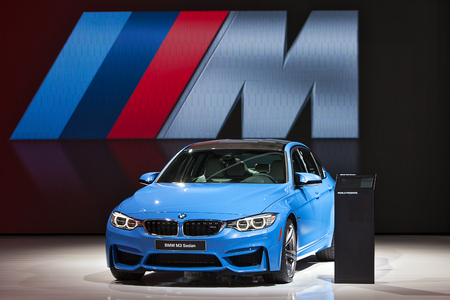 DETROIT - JANUARY 14 : The BMW M3 Two Door Sedan on display at the North American International Auto Show media preview  January 14, 2014 in Detroit, Michigan.