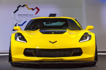 american media: DETROIT - JANUARY 14 : The new Chevy Corvette Z06 on display at the North American International Auto Show media preview  January 14, 2014 in Detroit, Michigan. Editorial