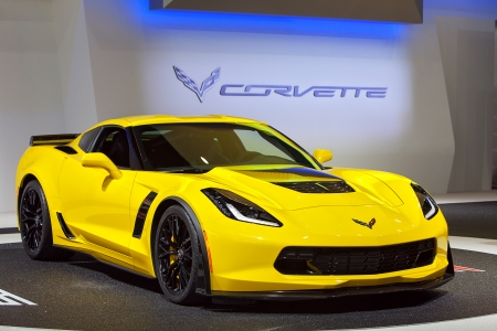 preview: DETROIT - JANUARY 14 : The new Chevy Corvette Z06 on display at the North American International Auto Show media preview  January 14, 2014 in Detroit, Michigan. Editorial
