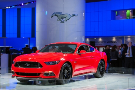 DETROIT - JANUARY 14 : The new 2015 Ford Mustang on display at the North American International Auto Show media preview  January 14, 2014 in Detroit, Michigan.