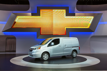 CHICAGO - FEBRUARY 6 : The new Chevrolet City Express on display at the Chicago Auto Show media preview February 6, 2014 in Chicago, Illinois. Imagens - 25870935