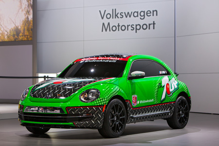 CHICAGO - FEBRUARY 7 : The Volkswagen Motorsport 7-up rally\ car at the Chicago Auto Show media preview February 7, 2014 in\ Chicago, Illinois.\
