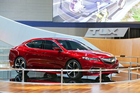 acura: CHICAGO - FEBRUARY 7 : The Acura TLX Prototype on display at the Chicago Auto Show media preview February 7, 2014 in Chicago, Illinois. Editorial