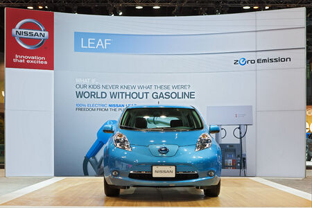 CHICAGO - FEBRUARY 7 : The Nissan Leaf electric vehicle on display at the Chicago Auto Show media preview February 7, 2013 in Chicago, Illinois.