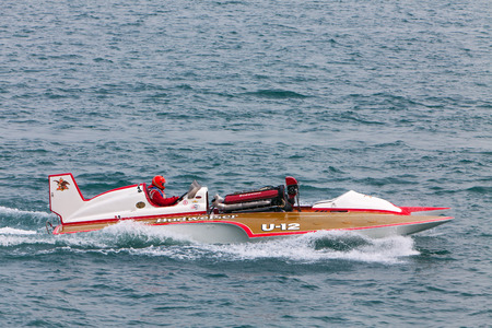 hydroplane: DETROIT - JULY 12: The Budweiser hydroplane at the APBA Gold Cup July 12, 2014 on the Detroit River in Detroit, Michigan. Editorial