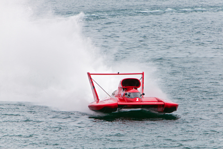 hydroplane: DETROIT - JULY 12: The Graham Trucking hydroplane at the APBA Gold Cup July 12, 2014 on the Detroit River in Detroit, Michigan. Editorial