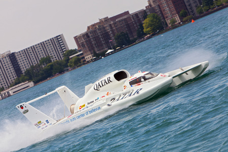 hydroplane: DETROIT - JULY 12: The Qatar hydroplane at the APBA Gold Cup July 12, 2014 on the Detroit River in Detroit, Michigan.