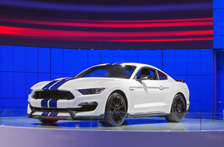 mustang gt: DETROIT - JANUARY 13: The all new Ford Mustang Gt350 Shelby Cobra on display January 13th, 2015 at the 2015 North American International Auto Show in Detroit, Michigan. Editorial
