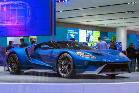 DETROIT - JANUARY 12: The world premiere of the Ford GT sports car on January 12th, 2015 at the 2015 North American International Auto Show in Detroit, Michigan. Editorial