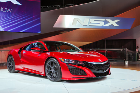 acura: DETROIT - JANUARY 13: The world premiere of the 2016 Acura NSX on January 13th, 2015 at the 2015 North American International Auto Show in Detroit, Michigan.