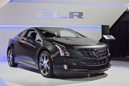 DETROIT - JANUARY 13: A Cadillac ELR is on display January 13th, 2015 at the 2015 North American International Auto Show in Detroit, Michigan.