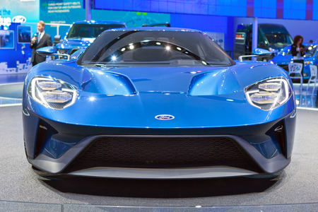DETROIT - JANUARY 13: Front view of the new Ford GT January 13th, 2015 at the 2015 North American International Auto Show in Detroit, Michigan.