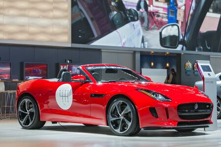 american media: DETROIT - JANUARY 13: A Jaguar F-Type convertible on display January 13th, 2015 at the 2015 North American International Auto Show in Detroit, Michigan.
