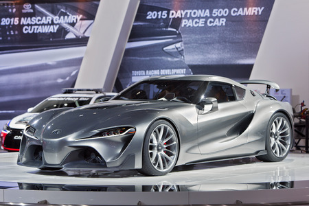 DETROIT - JANUARY 13: The Toyota FT-1 concept on display January 13th, 2015 at the 2015 North American International Auto Show in Detroit, Michigan.