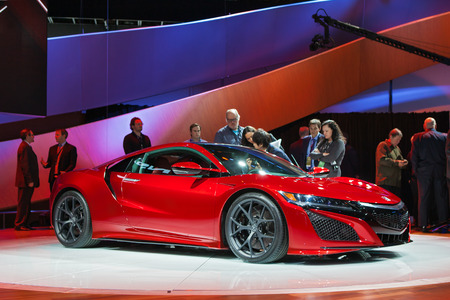 acura: DETROIT - JANUARY 12: The The world premiere of the Acura NSX  January 12th, 2015 at the 2015 North American International Auto Show in Detroit, Michigan. Editorial