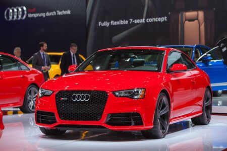 DETROIT - JANUARY 13: An Audi RS5 is on display January 13th, 2015 at the 2015 North American International Auto Show in Detroit, Michigan.