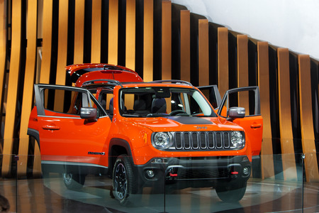 autoshow: DETROIT - JANUARY 15: The new Jeep Renegade on display January 13th, 2015 at the 2015 North American International Auto Show in Detroit, Michigan.