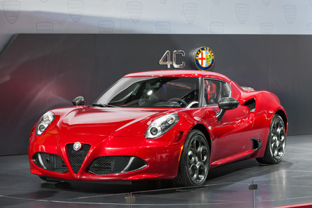 motor launch: DETROIT - JANUARY 15: The new Alfa Romeo 4C on display January 13th, 2015 at the 2015 North American International Auto Show in Detroit, Michigan. Editorial