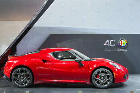 DETROIT - JANUARY 15: The new Alfa Romeo 4C on display January 13th, 2015 at the 2015 North American International Auto Show in Detroit, Michigan. Editöryel