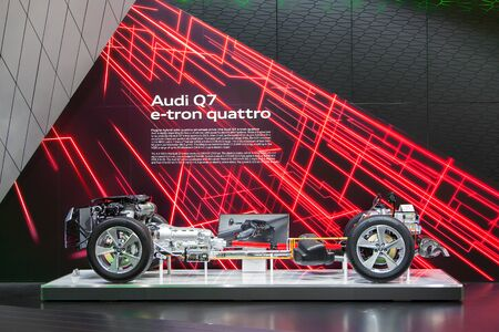 DETROIT - JANUARY 15: The exposed drivetrain of the Audi Q7 E-tron January 13th, 2015 at the 2015 North American International Auto Show in Detroit, Michigan.