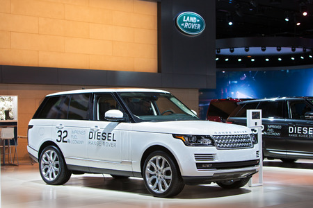autoshow: DETROIT - JANUARY 15: A Diesel Range Rover on display January 13th, 2015 at the 2015 North American International Auto Show in Detroit, Michigan.