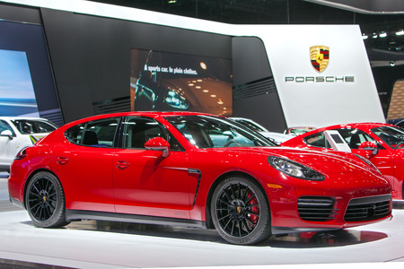 DETROIT - JANUARY 15: A Porsche Panamera GTS on display January 13th, 2015 at the 2015 North American International Auto Show in Detroit, Michigan.