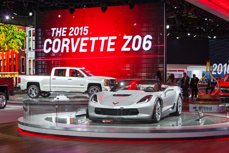 DETROIT - JANUARY 15: The Corvette Z06 convertible on display January 13th, 2015 at the 2015 North American International Auto Show in Detroit, Michigan.