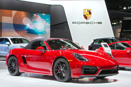 autoshow: DETROIT - JANUARY 15: A Porsche Boxster GTS on display January 13th, 2015 at the 2015 North American International Auto Show in Detroit, Michigan.