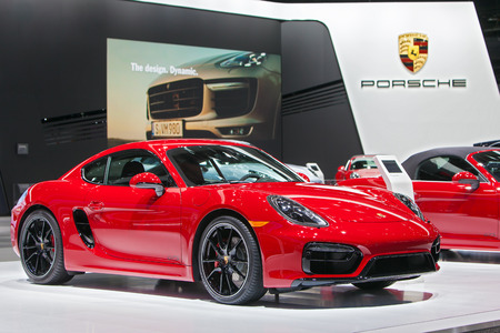 DETROIT - JANUARY 15: A Porsche Cayman GTS on display January 13th, 2015 at the 2015 North American International Auto Show in Detroit, Michigan.